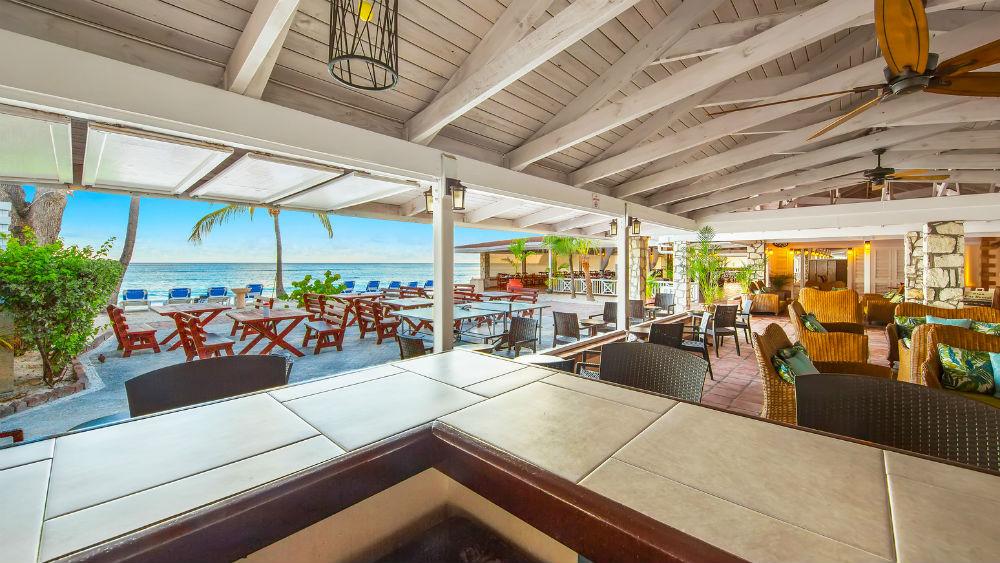 bar & beach front at the Pineapple Beach Club, Antigua