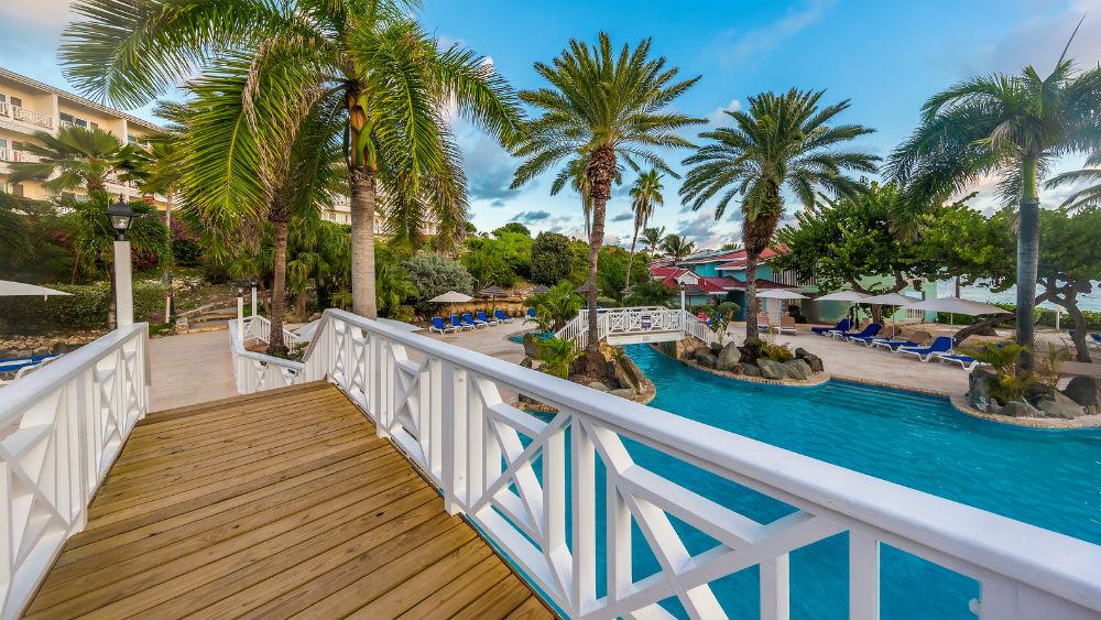 bridge over the pool at the Pineapple Beach Club, Antigua