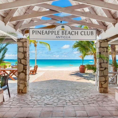 Entrance to the beach at the Pineapple Beach Club, Antigua