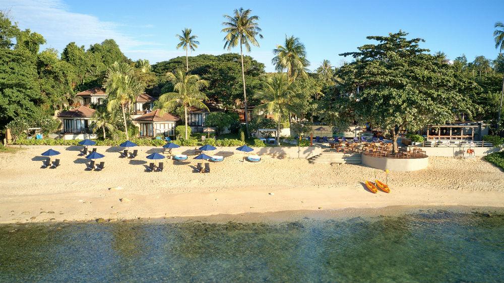 koh samui beach resort aerial shot at the Outrigger koh samui beach resort