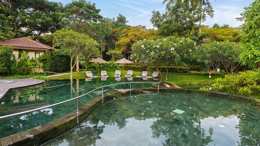 resort garden pool at the Outrigger koh samui beach resort