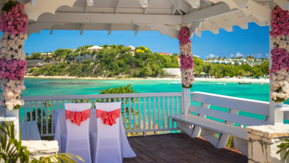 wedding stand at the Pineapple Beach Club, Antigua