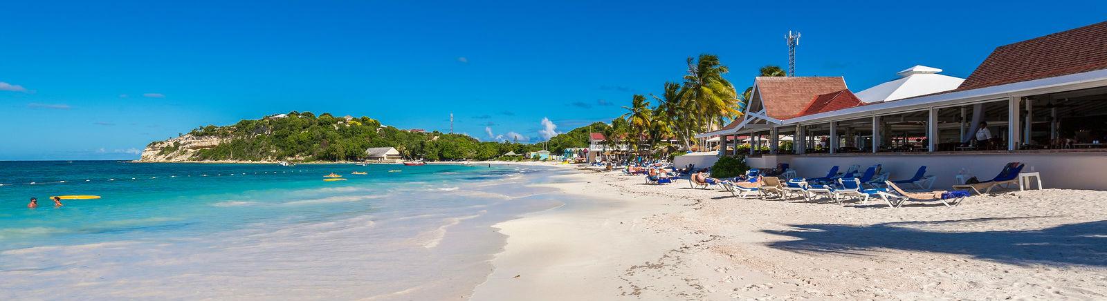 white sandy beach at the Pineapple Beach Club, Antigua