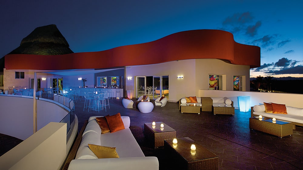 Outdoor terrace at After Dark nightclub at Breathless Punta Cana