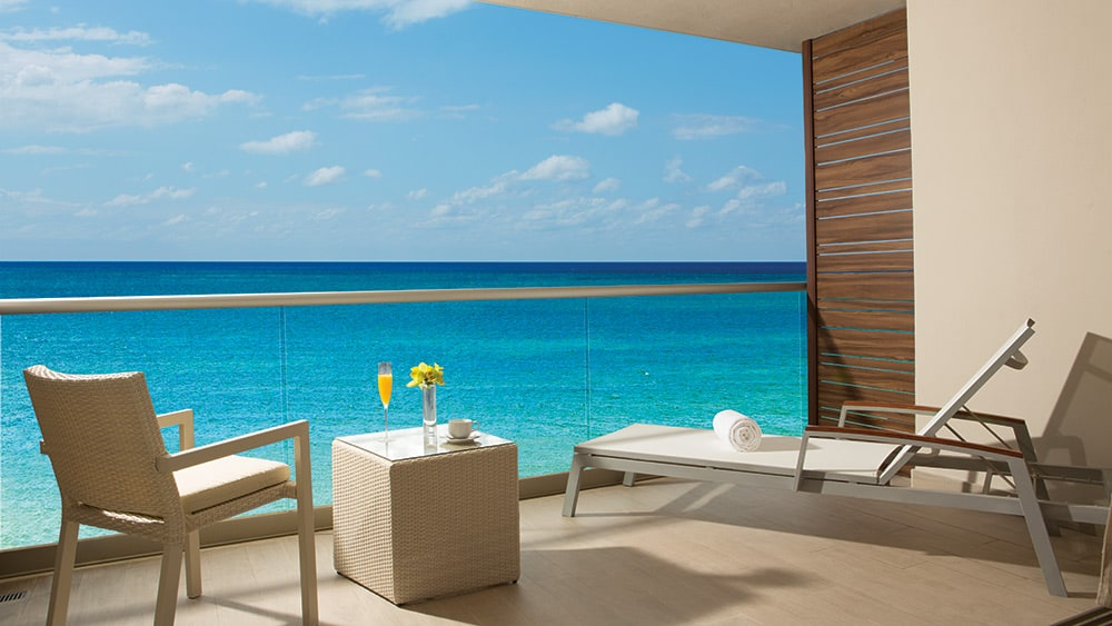 Balcony of the Allure Junior Suite Ocean View at Breathless Riviera Cancun