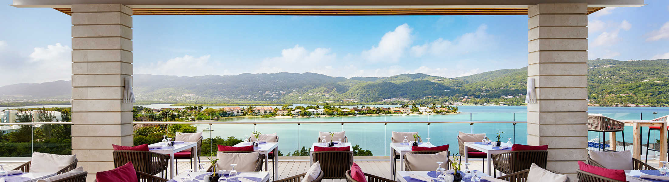 Open air restaurant with ocean views at Breathless Montego Bay