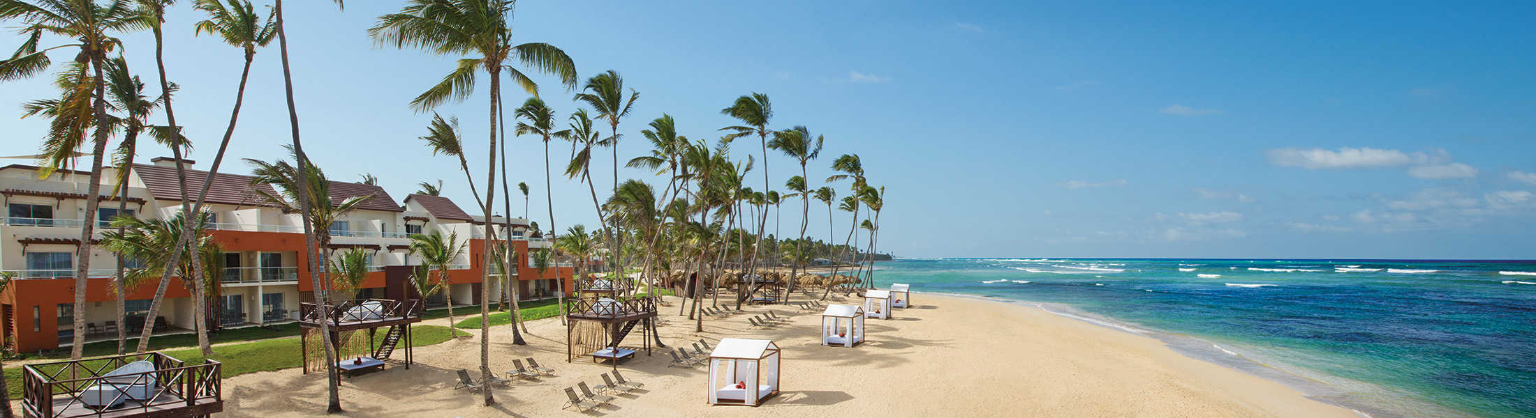 Beach with sun loungers at Breathless Punta Cana
