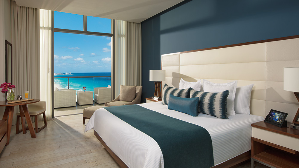 Bedroom of the Deluxe Ocean View at Secrets The Vine