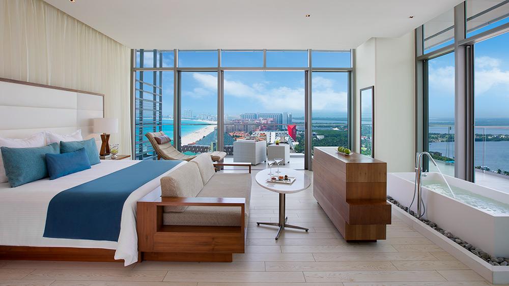 Bedroom of the Honeymoon Suite Ocean View at Secrets The Vine