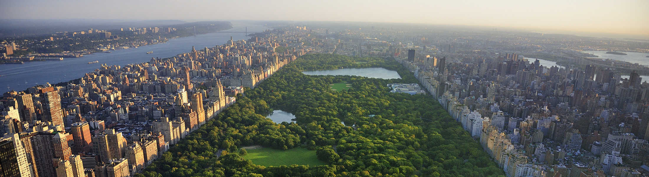 Aerial view of Central Park in New York in April