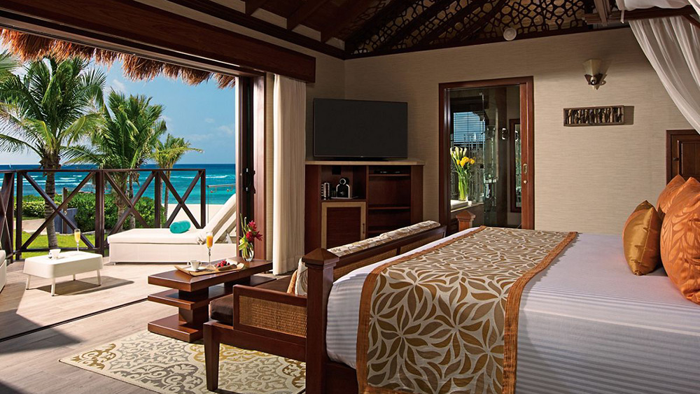 Bedroom of the Over the Pool Cabana Honeymoon Suite at Secrets Silversands