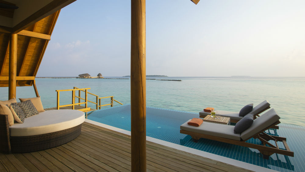 Overwater lounge at the Faarufushi Maldives