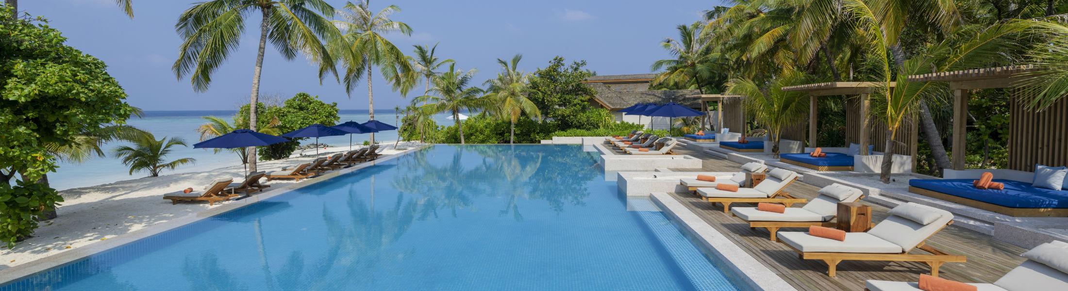 Pool area at the Faarufushi Maldives