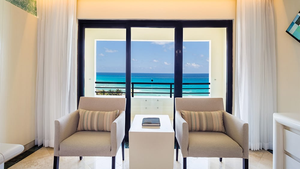 Ocean views from the Preferred Club Ocean View room at Now Emerald