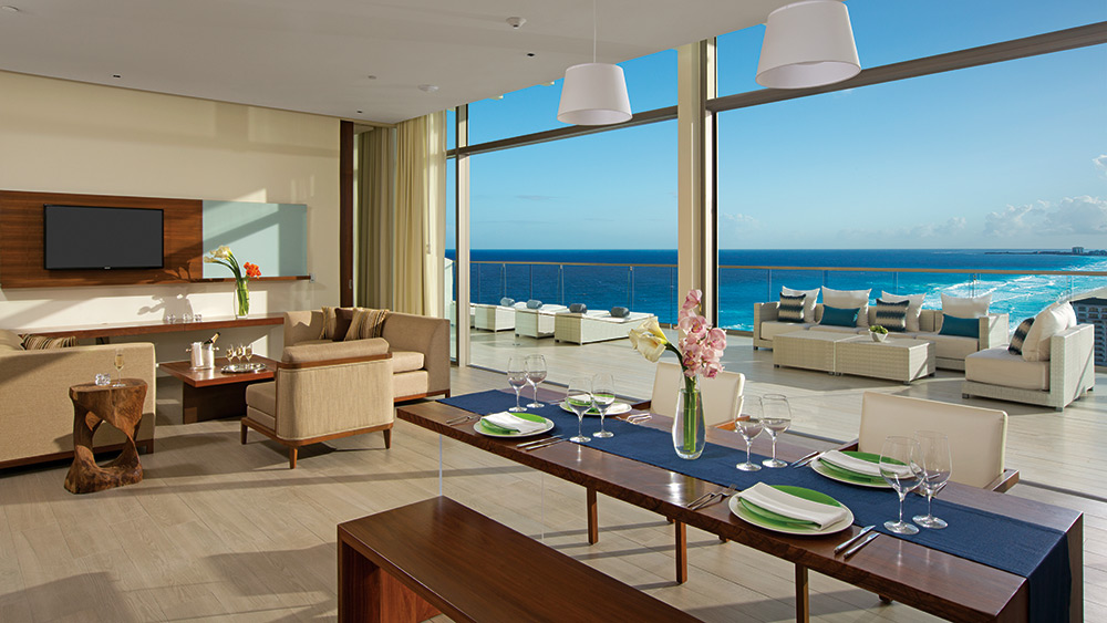 Living room of the Preferred Club Presidential Suite at Secrets The Vine