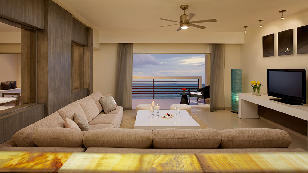 Living room of the Presidential Suite at Secrets Silversands