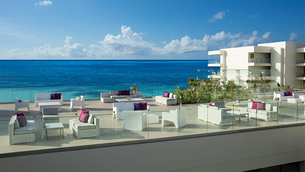Roof terrace with ocean views at Breathless Riviera Cancun