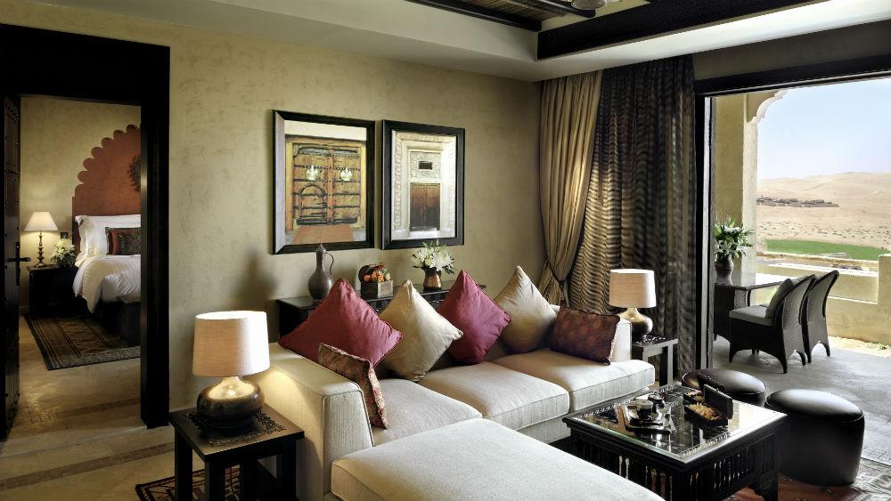 Living room of the suite at Anantara Qasr Al Sarab Desert Resort