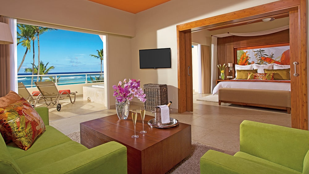 Living room of the Xhale Club Master Suite Oceanfront View at Breathless Punta Cana