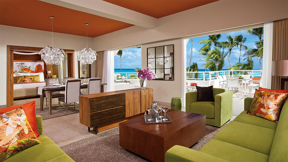 Living room of the Xhale Club Presidential Suite at Breathless Punta Cana