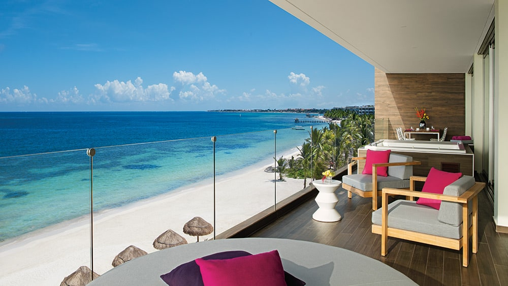 Balcony of the Xhale Club Presidential Suite Oceanfront at Breathless Riviera Cancun