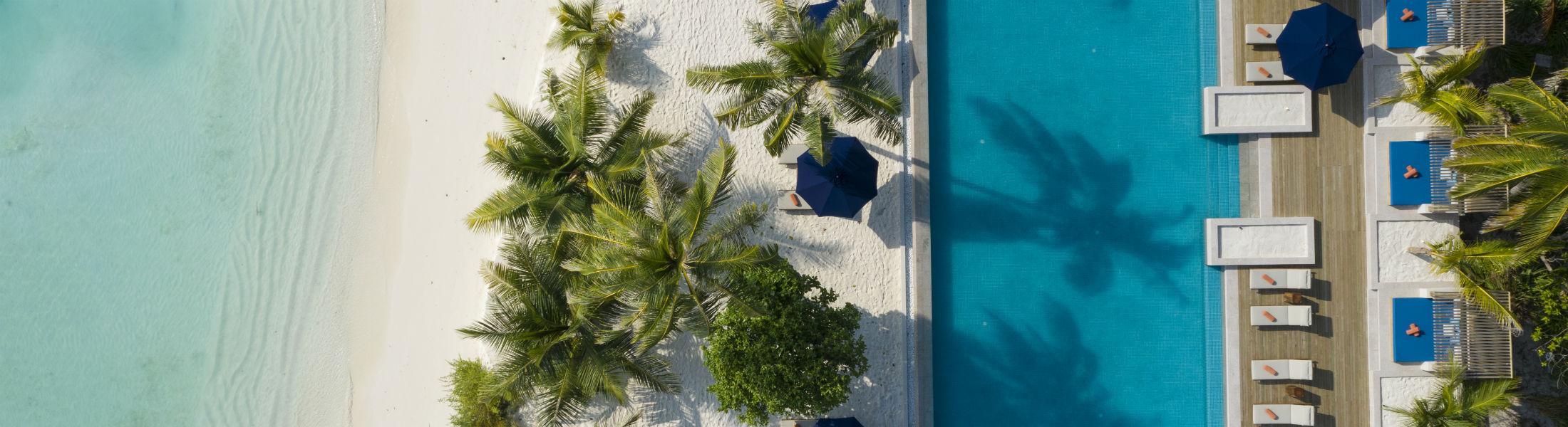 aerial shot of the pool at the Faarufushi Maldives