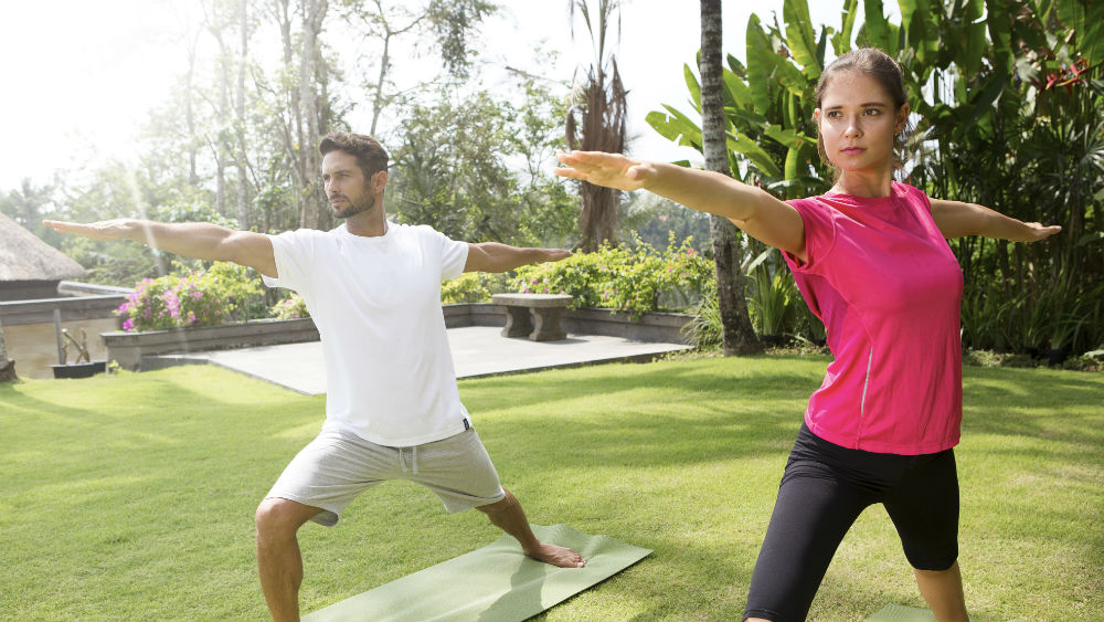 couples Yoga at Lembah Spa at the Viceroy Bali