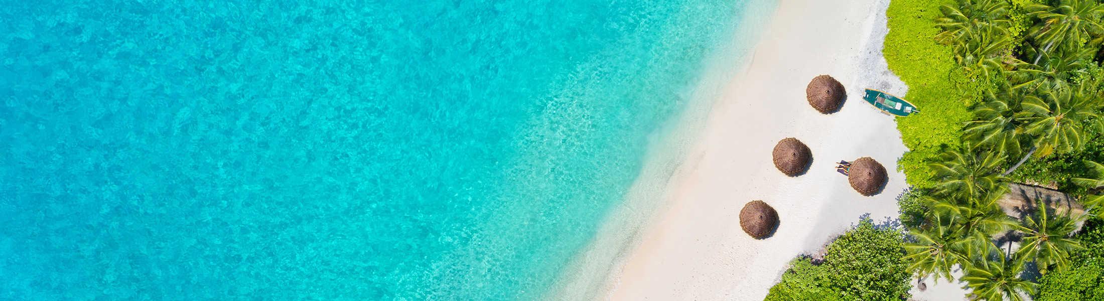 Aerial view of a Maldives beach on a Maldives & Dubai twin-centre