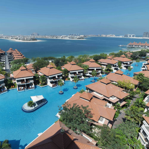 Aerial Lagoon View of the Anantara The Palm Dubai