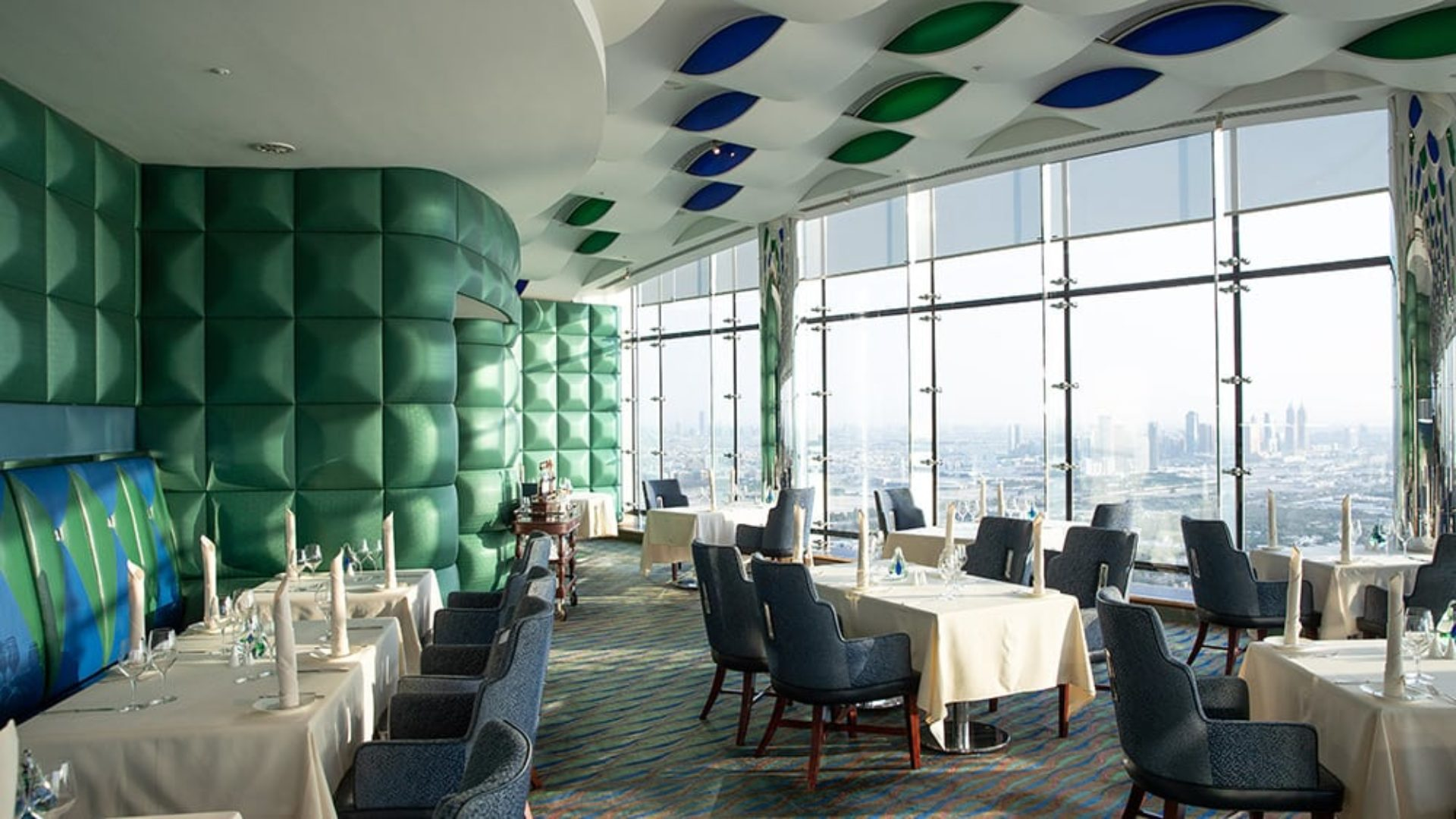 Al Muntaha Restaurant with a sea view at the Burj Al Arab