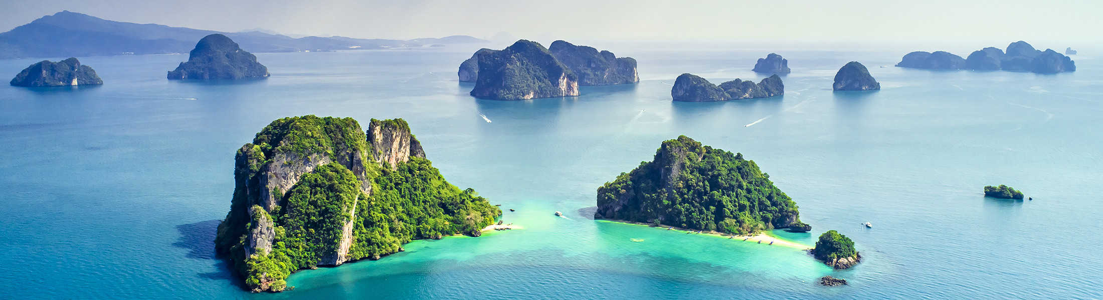 Aerial view of islands in the Andaman Sea on a Thailand Multi-Centre