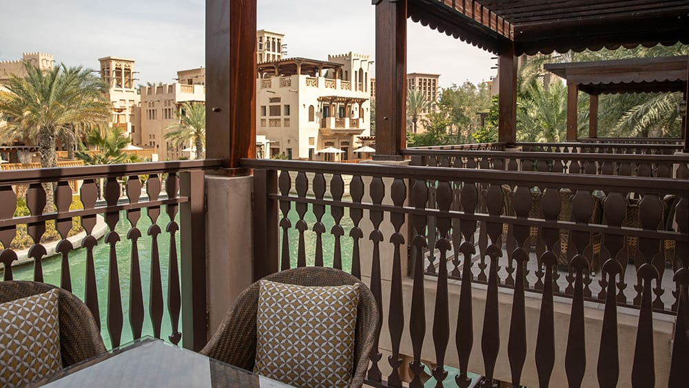 Balcony of the Arabian Summerhouse Lagoon Deluxe at Jumeirah Dar Al Masyaf