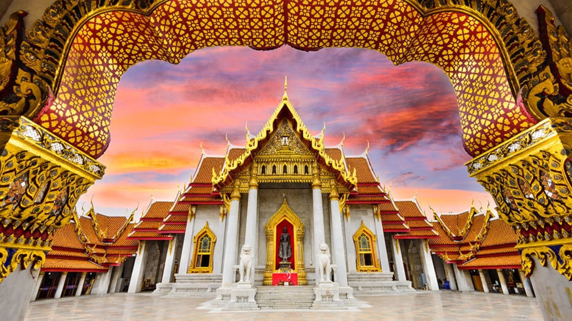 Temple at sunset in Bangkok on a Thailand Multi-centre