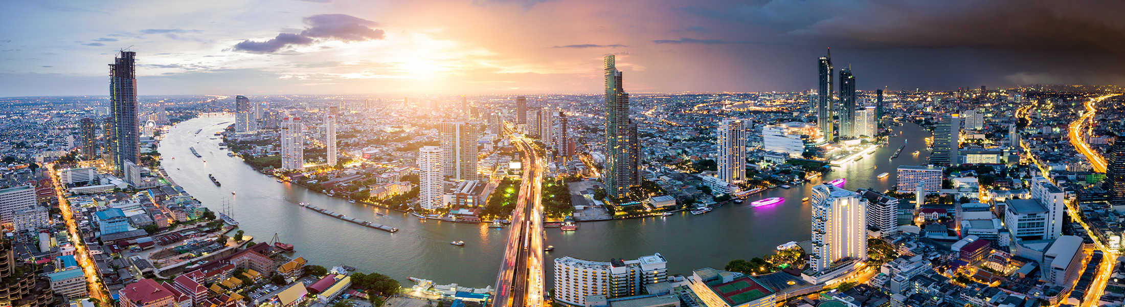 Aerial view of Bangkok at sunset on a Thailand Multi-centre