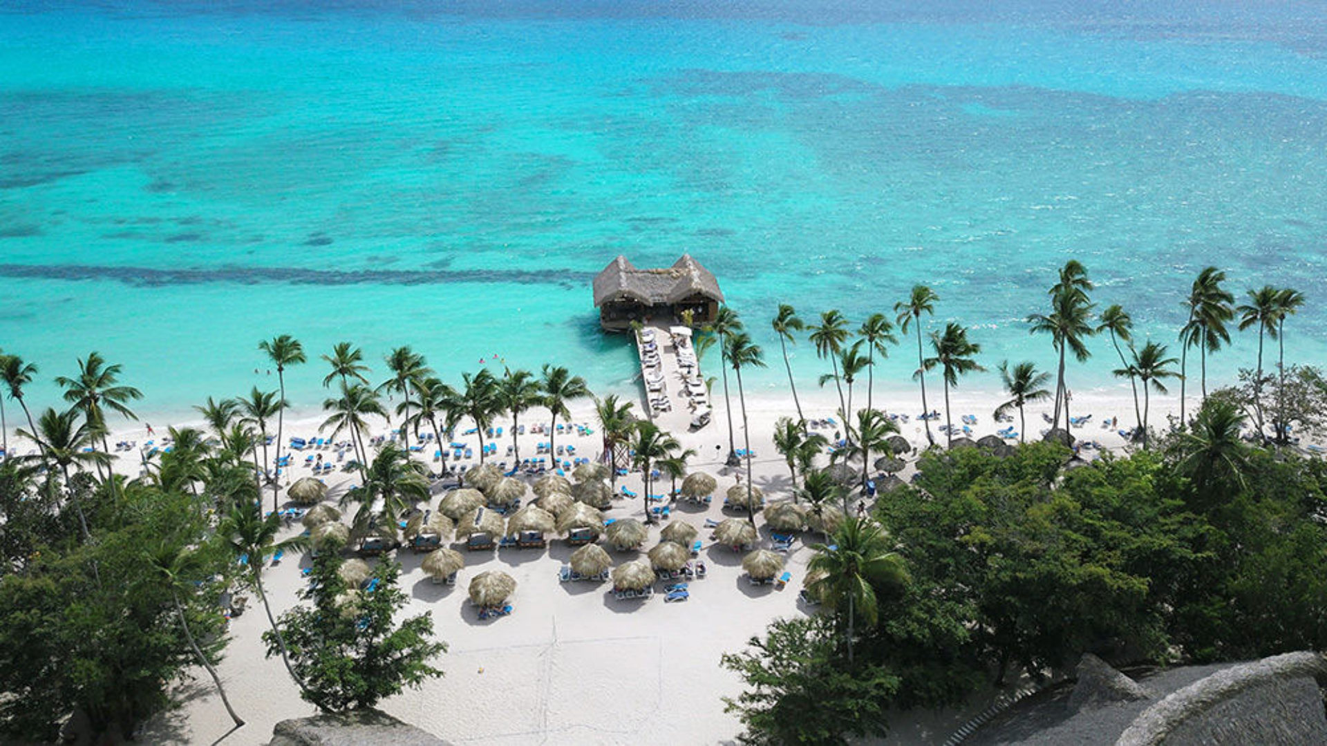 Aerial view of the beach in the Dominican Republic on a USA & Caribbean multi-centre