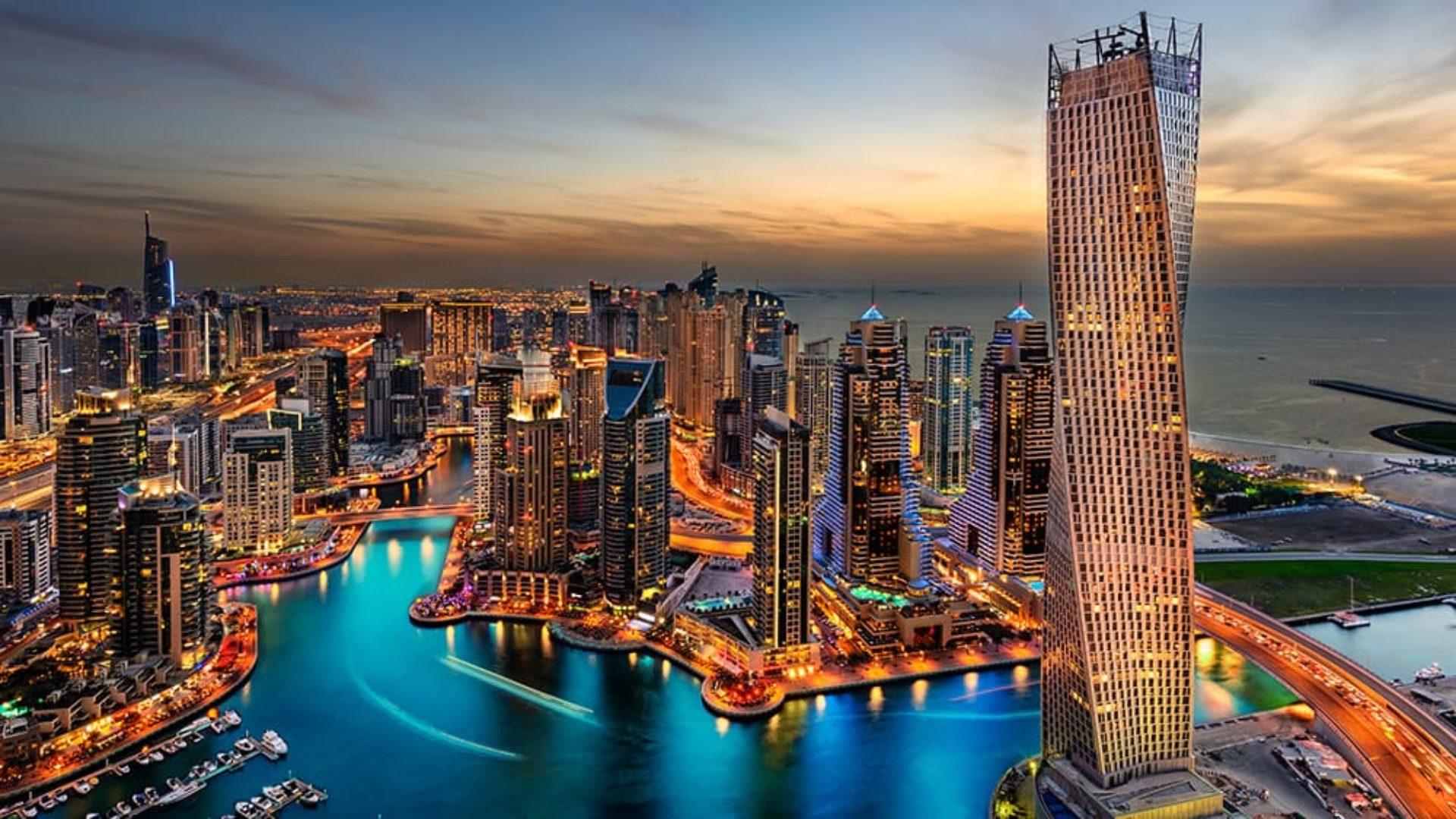 Aerial view of Dubai on a Mauritius & Dubai twin-centre