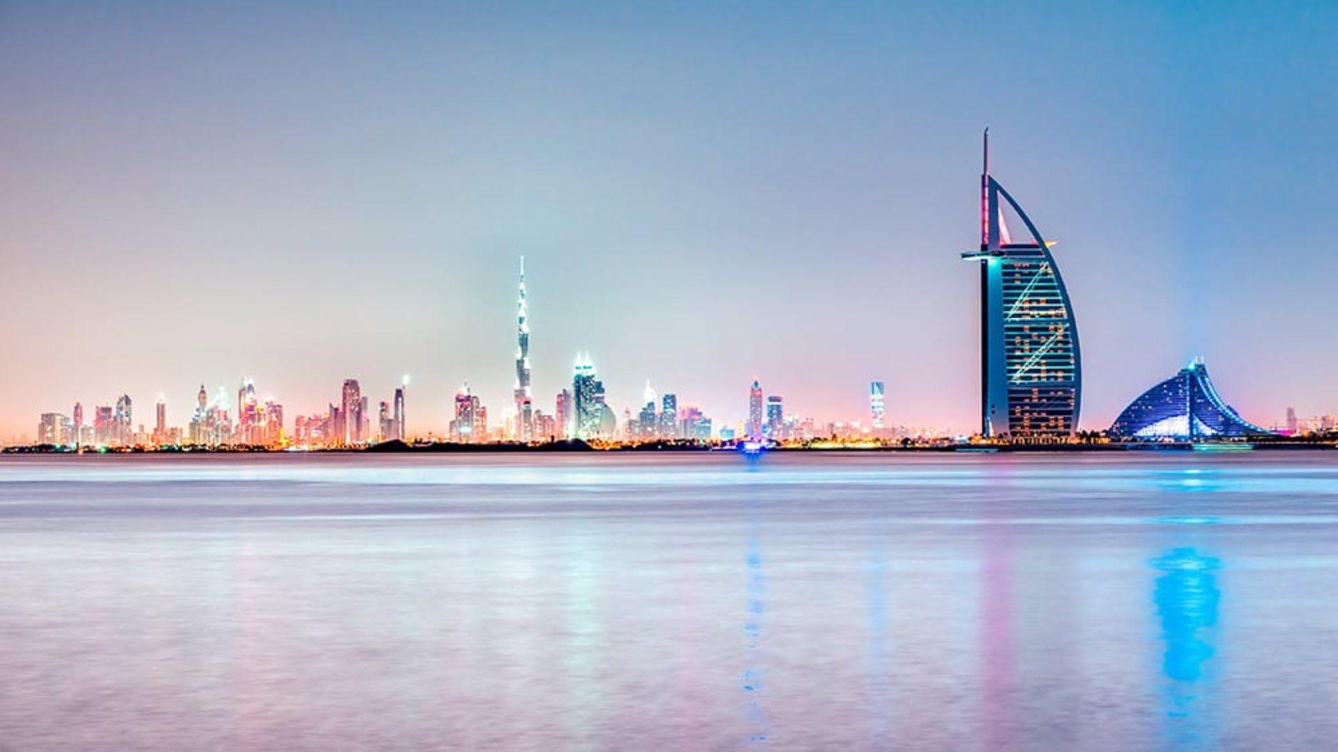 Dubai at sunset on a Mauritius & Dubai twin-centre