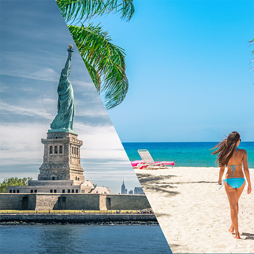 Statue of Liberty and Barbados Beach merged