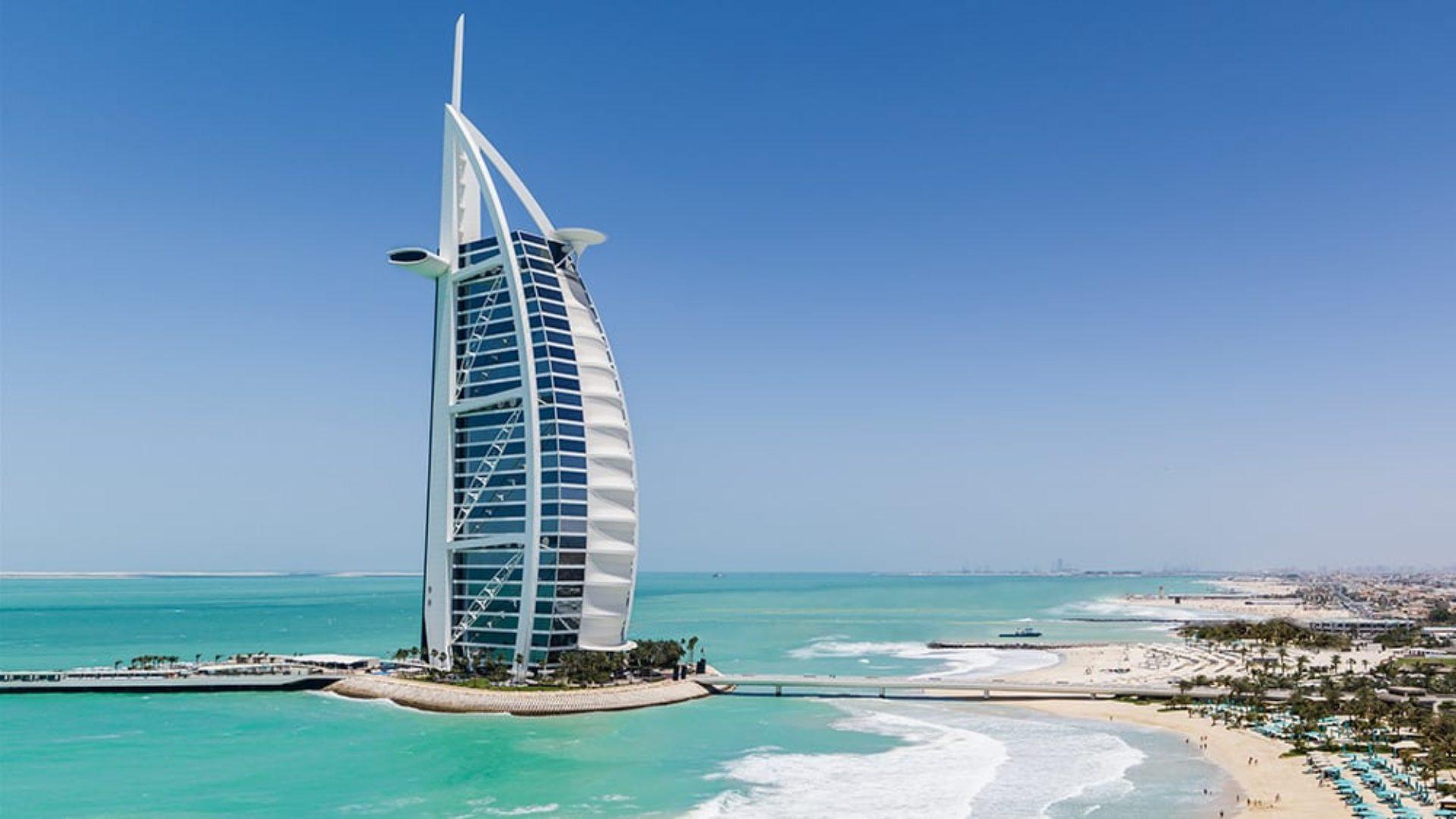 The Burj Al Arab and Jumeirah Beach in Dubai