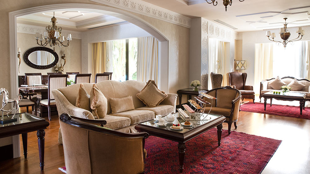 Living Room of the Four Bedroom Lagoon Royal Residence at Jumeirah Zabeel Saray