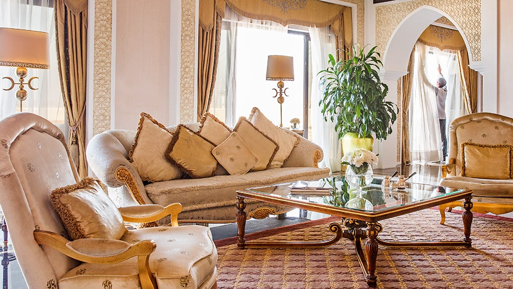Living room of the Imperial Two Bedroom Suite at Jumeirah Zabeel Saray