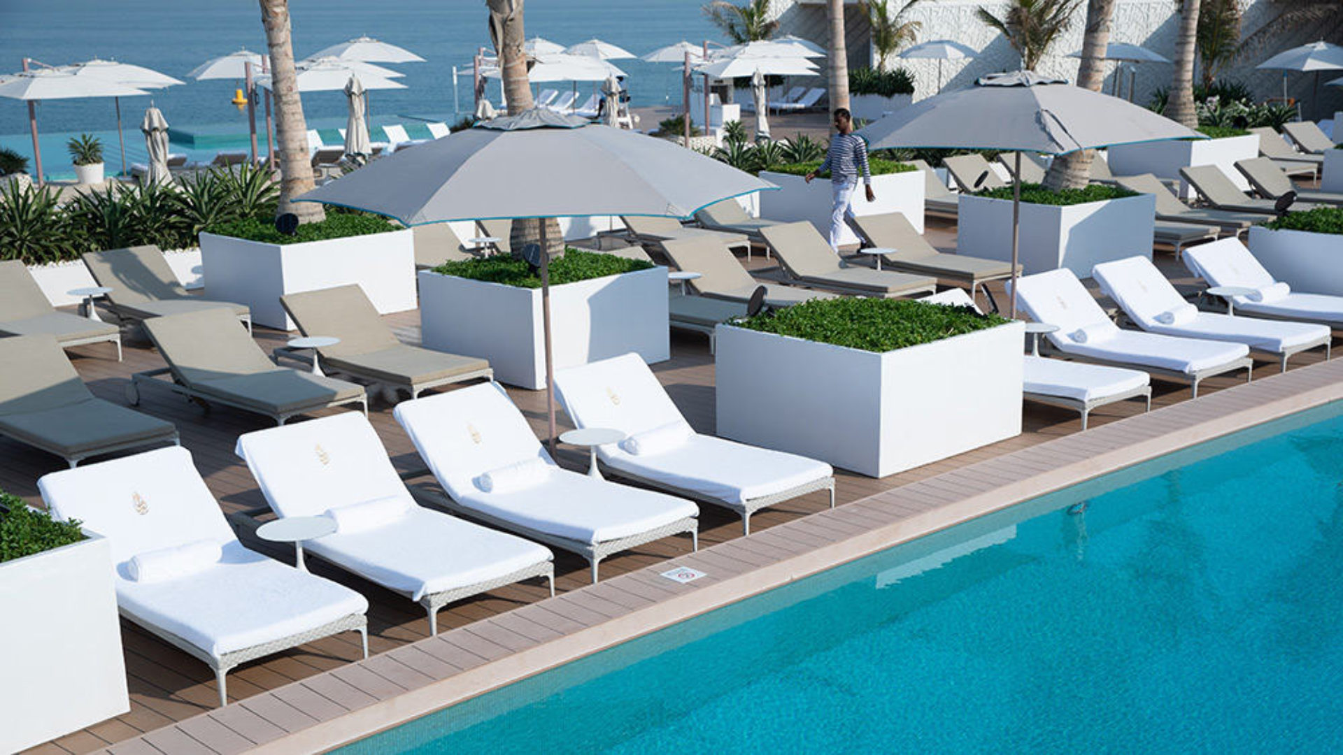 Sunloungers at the pool at the Burj Al Arab