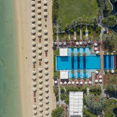 Jumeirah Zabeel Saray - Infinity Pool and Beach Aerial