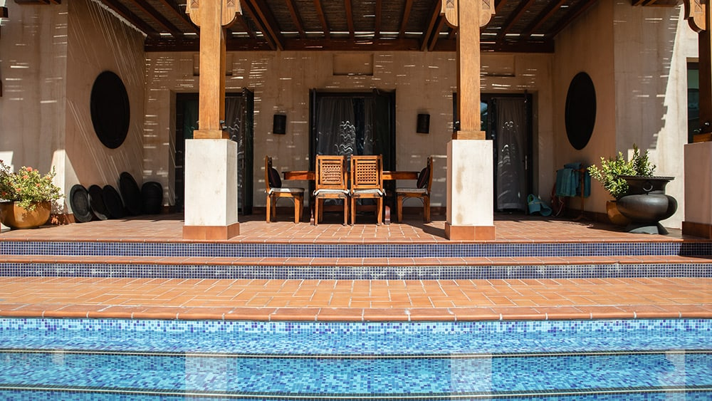 Private pool of the Malakiya Three Bedroom Villa at Jumeirah Dar Al Masyaf
