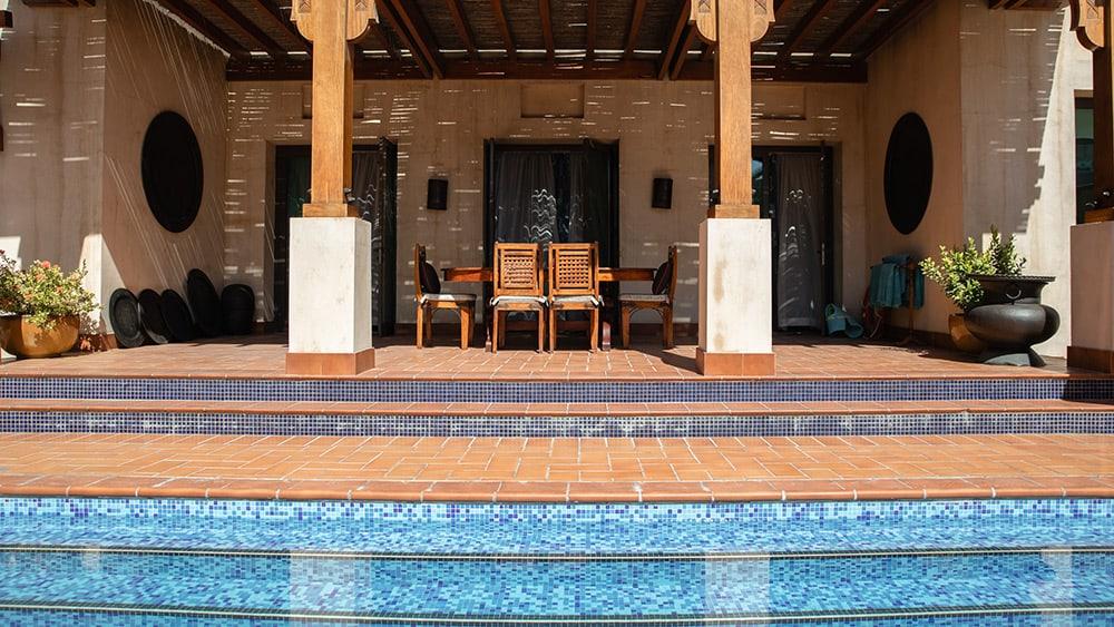Private pool of the Malakiya Three Bedroom Villa at Jumeirah Dar Al Masyaf