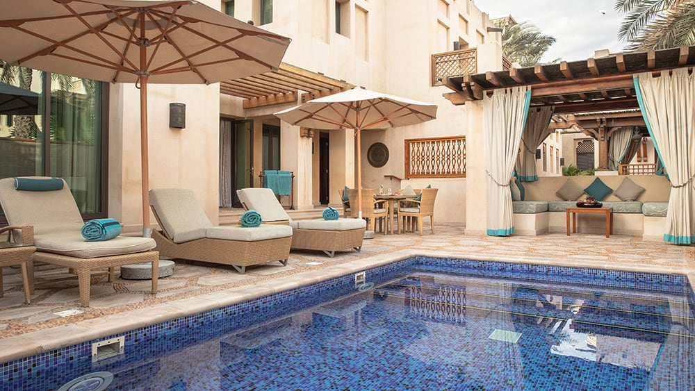 Private pool of the Malakiya Two Bedroom Villa at Jumeirah Dar Al Masyaf