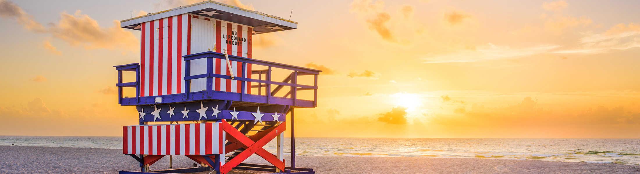 Lifeguard hut on Miami Beach at sunrise on a USA & Caribbean multi-centre