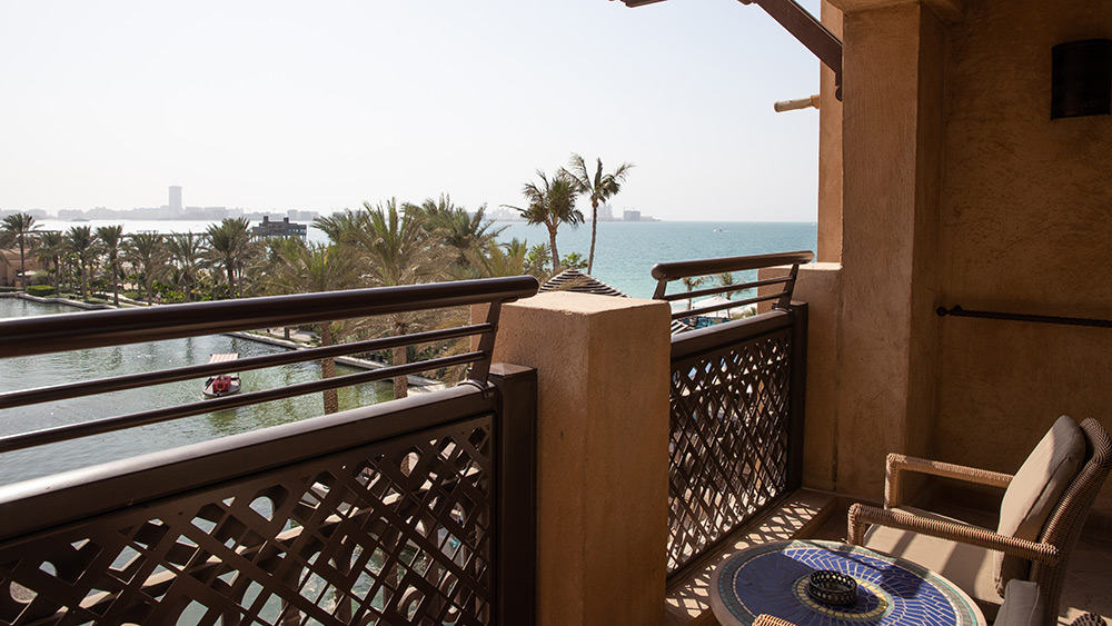 Balcony with an ocean view in the Ocean Club Room at Jumeirah Mina A'Salam
