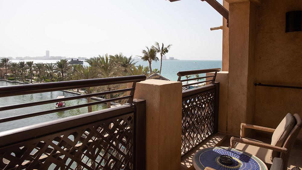 Balcony with an ocean view in the Ocean Club Room at Jumeirah Mina A'Salam