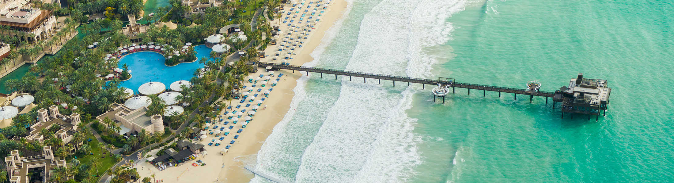 Aerial view of the private beach at Jumeirah Dar Al Masyaf